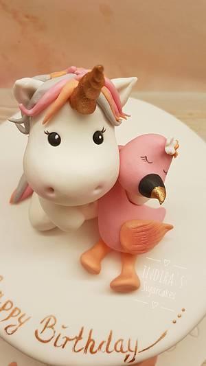 Unicorn Flamingo cake  - Cake by Indira's Sugarcakes