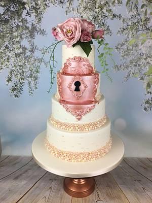 Fairytale rose gold lock wedding cake  - Cake by Melanie Jane Wright