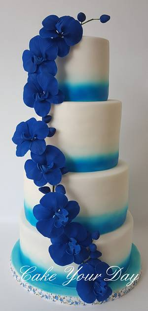 Blue Orchids Wedding Cake   - Cake by Cake Your Day (Susana van Welbergen)
