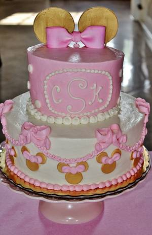 Minnie Mouse Gold and Pink cake - Cake by Nancys Fancys Cakes & Catering (Nancy Goolsby)