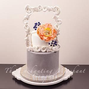 White sugar frame peony cake - Cake by Enchanting Merchant Company