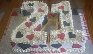 21st Birthday Cake - Cake by Rencia's Creations