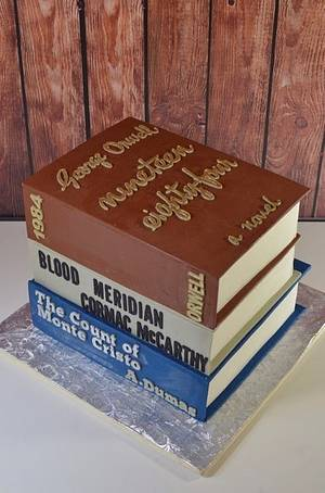 Stacked Books Groom's Cake - Cake by Jenniffer White