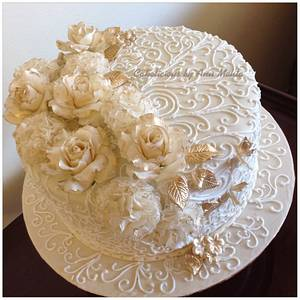 Gold & Ivory Anniversary Cake - Cake by Cakelicious by Anu Mehta