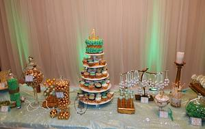 Mint and gold sweet table - Cake by Olga