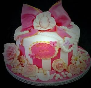Pink HatBox  - Cake by Amelia Rose Cake Studio