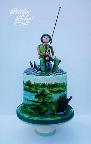 Handpainted fishing cake  - Cake by Sharon Fitzgerald @ Bitchin' Bakes