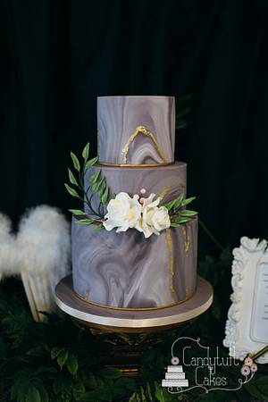 Marble and gold leaf wedding cake (Cupid and Psyche) - Cake by Kathryn