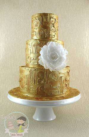 Gold Klimt Cake with Wafer Paper Peony - Cake by Natasha Shomali