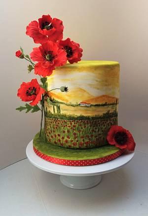 Poppy cake with hand-painted poppy field - Cake by Darina