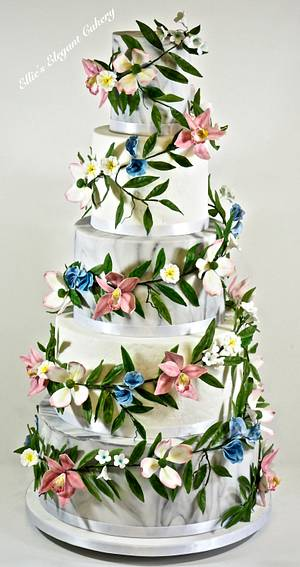 Flower Garland Wedding Cake - Cake by Ellie @ Ellie's Elegant Cakery