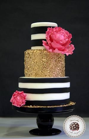 Paillettes & Stripes wedding cake - Cake by Mericakes