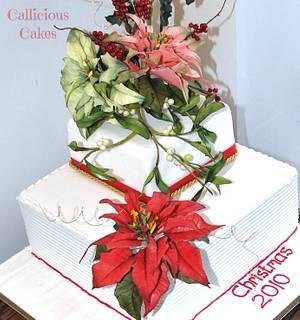 Poinsettia Xmas Cake - Cake by Calli Creations