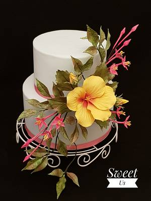 Sugar Flowers and Cakes in Bloom World Cancer Day Collaboration - Cake by Gabriela Doroghy