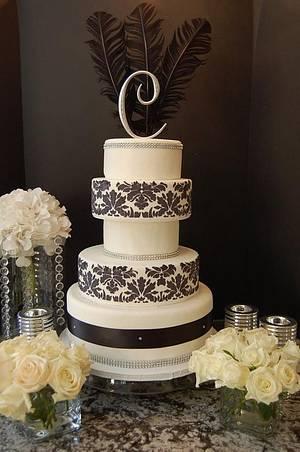 Damask Wedding Cake  - Cake by It's a Cake Thing