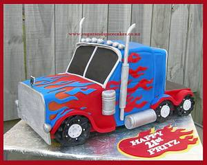 Transformers - Optimus Prime - Cake by Mel_SugarandSpiceCakes