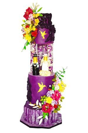 Cheers Couple with Morden Purple Wedding Cake  - Cake by Sheetal chourasia