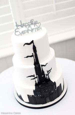 Disney style fantasy castle monochrome wedding cake - Cake by Kasserina Cakes