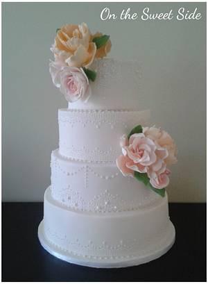 Vintage Lace Floral Cake - Cake by Christy