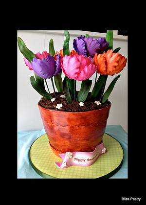 Anniversary Flower Pot With Parrot Tulips - Cake by Bliss Pastry