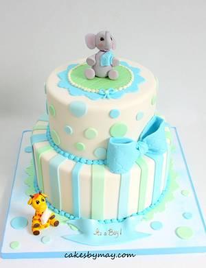Elephant and Giraffe Baby Shower Cake - Cake by Cakes by Maylene
