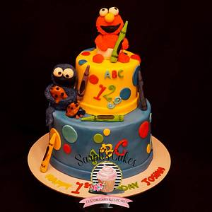 1st Birthday Cake with Baby Elmo and Cookie Monster cake - Cake by Sarah's Cakes