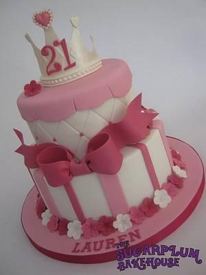 2 Tier Girly Princess 21st Birthday Cake - Cake by Sam Harrison