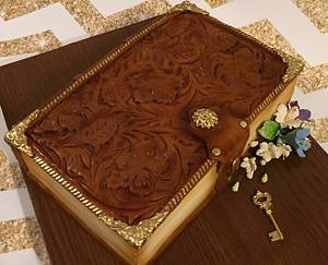 Tooled leather book cake - Cake by The Cake Mamba