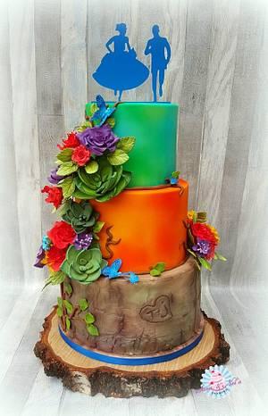Weddingcake tree with succulents - Cake by Sam & Nel's Taarten