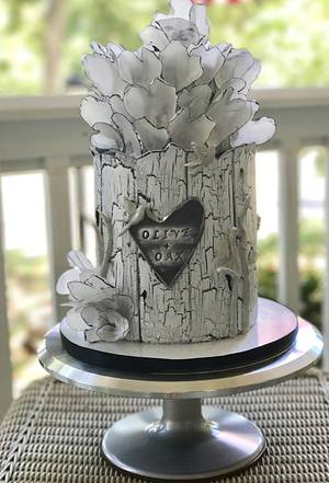 Olive + Oak cake with wafer paper hearts and crackle effect - Cake by Dozycakes