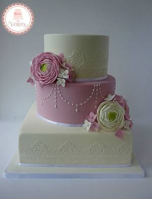 Ranunculus and Hydrangea Wedding cake - Cake by Cakes by Verity