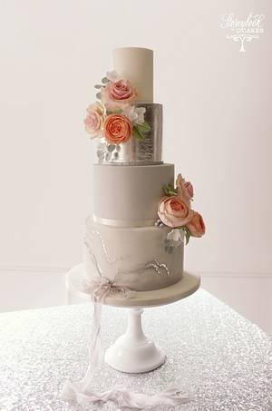 Grey marbled wedding cake - Cake by StoreybookCakesUK
