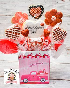 Valentine's Cookie Bouquet  - Cake by Sarah's Cakes