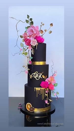 Black wedding cake with sugar flowers - Cake by Color Drama Cakes