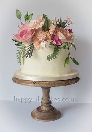 Corals, pinks and foliage natural wedding cake  - Cake by Happyhills Cakes