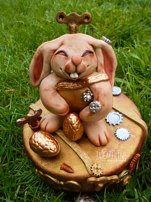 Fondant Cake Topper Sweet  Easter Collaboration - steampunk bunny - Cake by Jacqueline