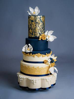 Navy and Gold Wedding Cake - Cake by BunnyBakes