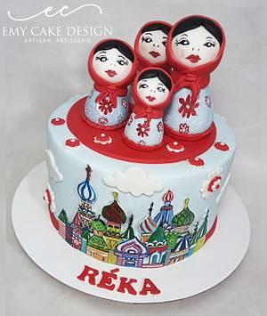 Matryoshka Russian painted cake - Cake by EmyCakeDesign