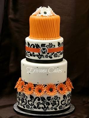 Orange and Black damask wedding cake - Cake by erivana