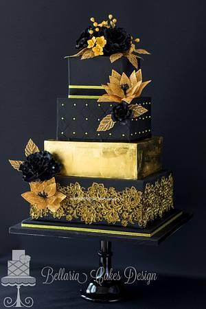 Black and gold wedding cake - Cake by Bellaria Cake Design