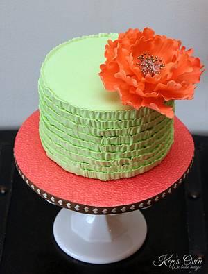 Mint Ruffle Cake with Fantasy Peony - Cake by Kendari Gordon