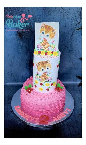 Whipped cream cat cake  - Cake by Pinkle