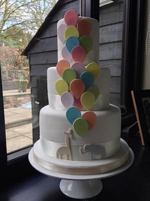 Balloons Christening Cake - Cake by BeaisforBaking