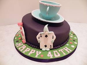 Alice in Wonderland themed 40th birthday cake - Cake by Shoreline Sugar Design by Sarah