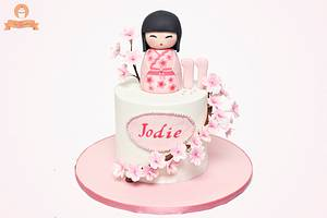 Kokeshi Doll and Cherry Blossoms Cake - Cake by The Sweetery - by Diana