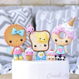 Donut, Cookie and Toast Cake Toppers - Cake by Crumb Avenue