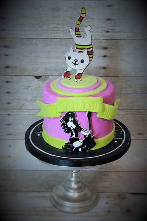 Roller derby kitty cake for Bad JuJu - Cake by Not Your Ordinary Cakes