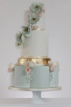 Luxe Eucalyptus and Peach - Cake by Rosewood Cakes