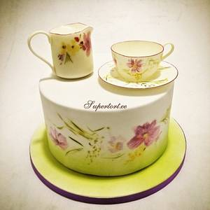 Tea cup and cream jug, hand painted cake - Cake by Olga Danilova