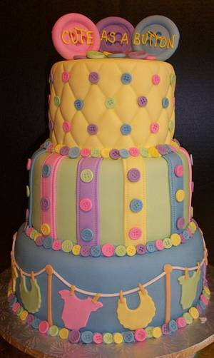 Cute as a Button Baby Shower - Cake by Tracy's Custom Cakery LLC
